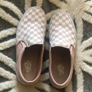 Vans pink/white checkered slip on sneakers 9.5